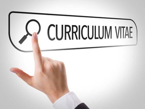 Curriculum Vitae written in search bar on virtual screen